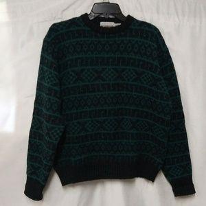 McGregor Black Green Geometric Long Sleeve Sweater